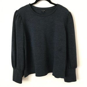 🔥Ann Taylor Dark Grey Puff Shoulder Sweatshirt